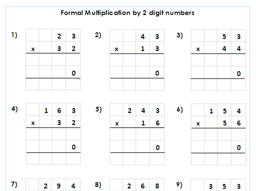 Year 5 6 Formal Multiplication By 2 Digit Numbers Differentiated