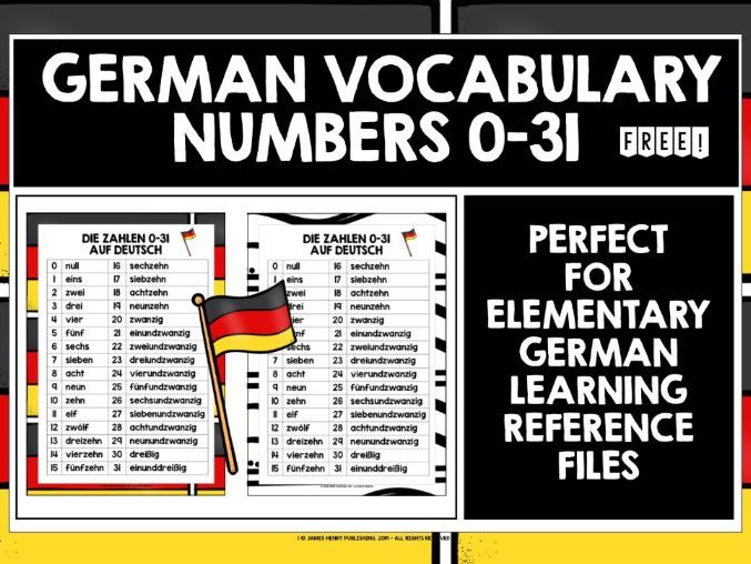 GERMAN NUMBERS 0-31 REFERENCE LIST