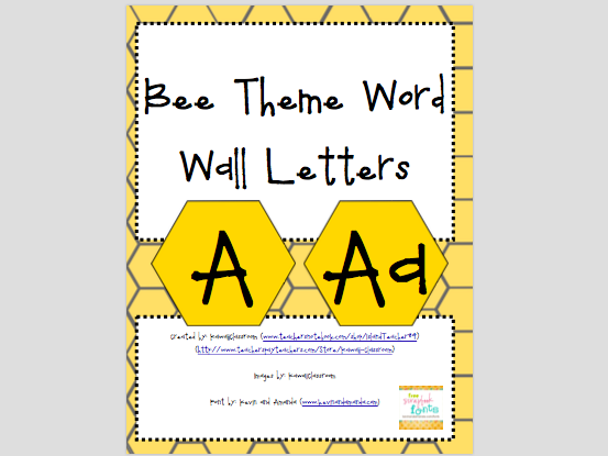 Bee Theme Word Wall Letters