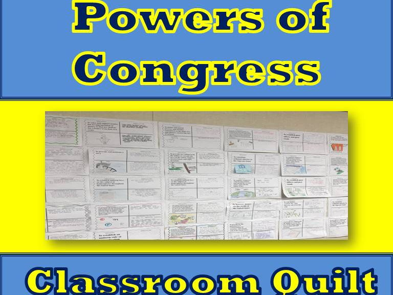 Powers of Congress Classroom Quilt Activity (Quiz)