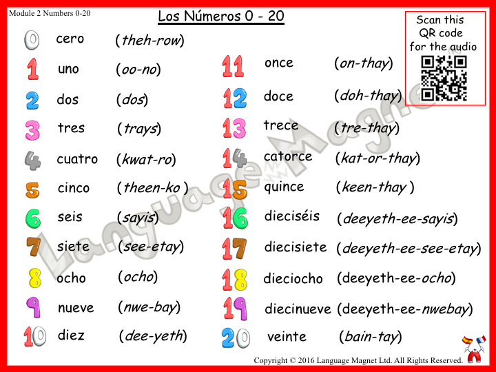Spanish Numbers 0 to 20 Audio Sheet