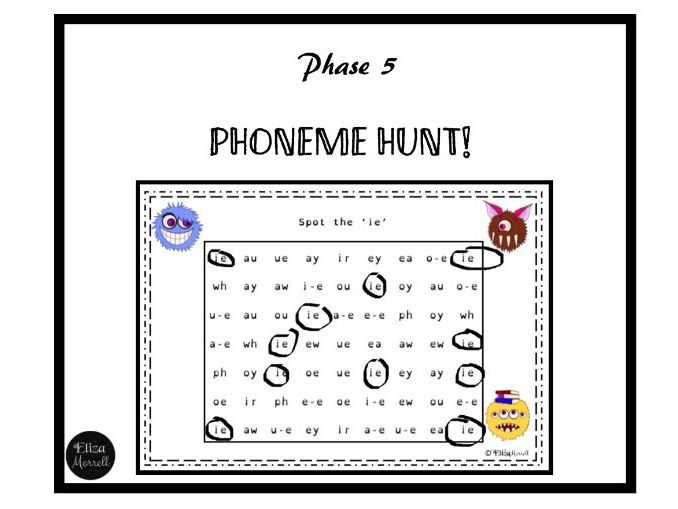 Phonics - Phase 5 - Phoneme Hunt