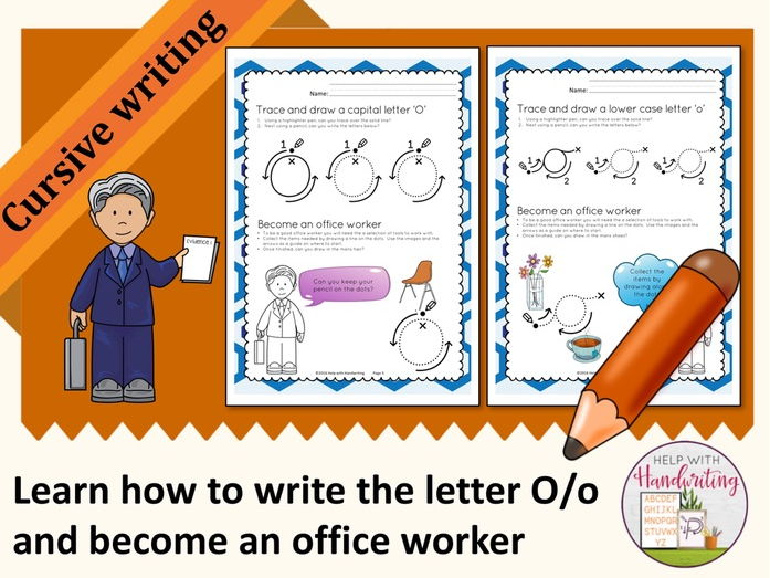 Learn how to write the letter O (Cursive style) and become an office worker