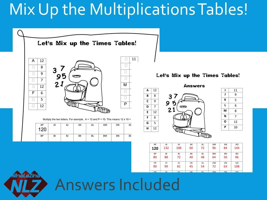 Free Times Table Puzzle answers