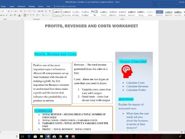 Revision notes profits, costs and revenues