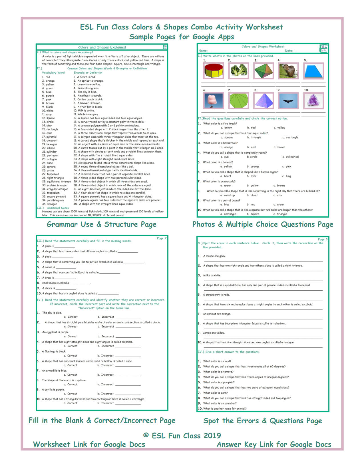 7896260419e Colors   Shapes Interactive Worksheets for Google Apps by ...