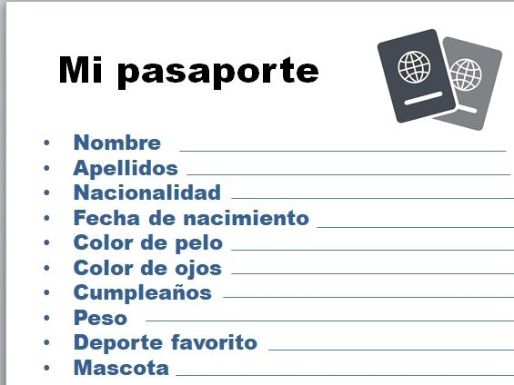Spanish - Pasaporte, passport (personal information)