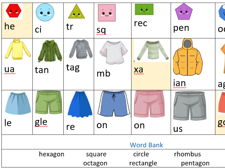2D Shapes, Drawing and Spelling, Fun Activity Worksheet KS1 KS2