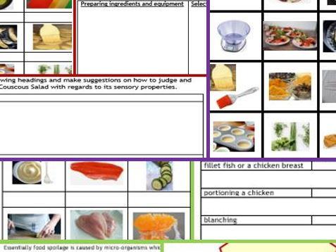 NEW GCSE Food Tech: 2x 7page work books, board game, cue-cards, activity cards