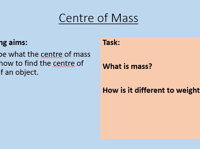 AQA P8.6 Centre of Mass