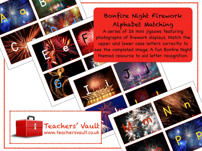 Bonfire Night Firework Alphabet Matching Puzzle