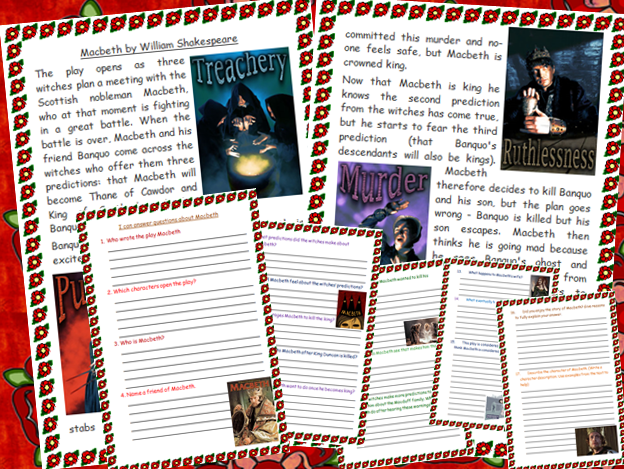 KS2 Macbeth  Comprehension Shakespeare Tudors Summary
