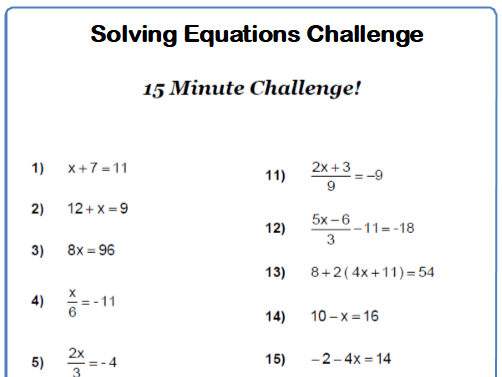 Solving Equations 15 minute Challenge 9-1 GCSE Maths Worksheet