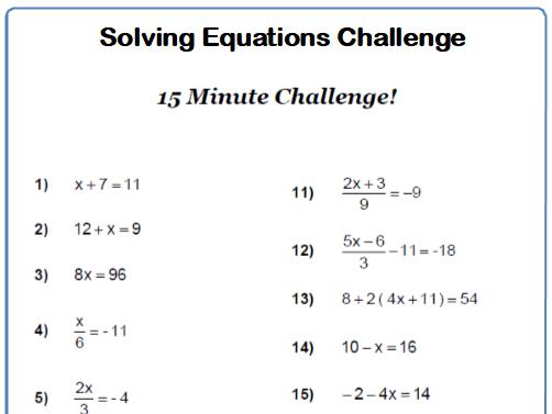 Solving Equations 15 minute Challenge 9-1 GCSE Maths Worksheet