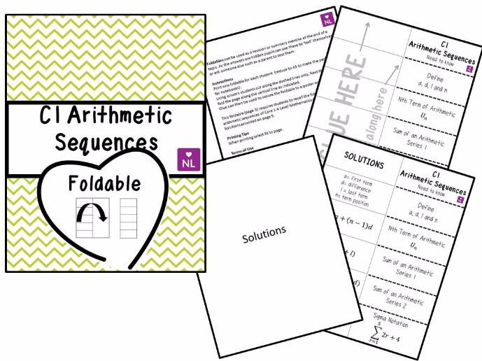 Core 1 Arithmetic Sequences Foldable