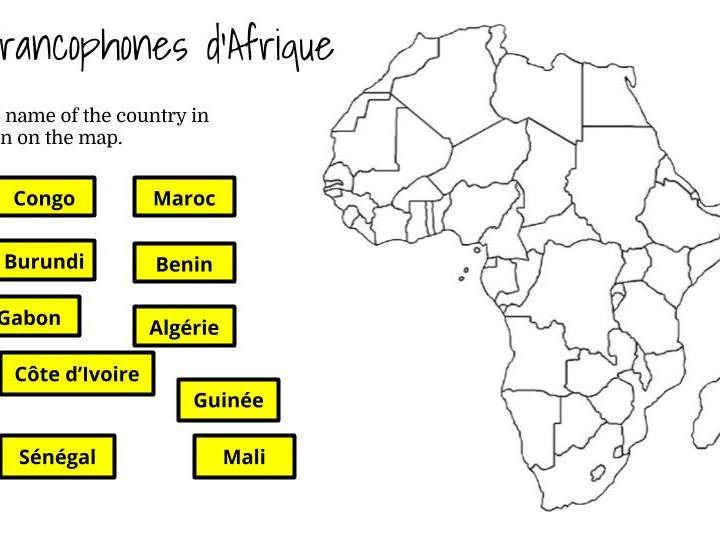 French-speaking countries in Africa - Drag and drop activity