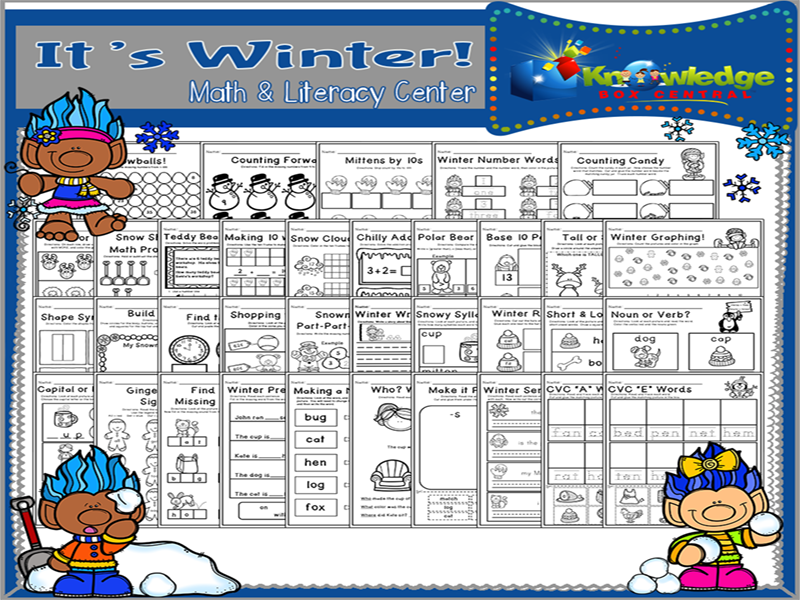 It's Winter! Math & Literacy Center - CCSS Aligned for Kindergarten