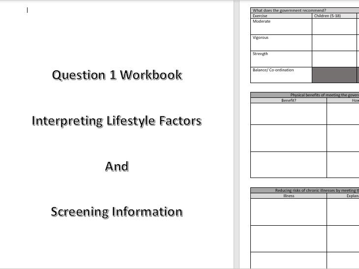 BTEC Sport L3 Unit 2 Question 1 Pack
