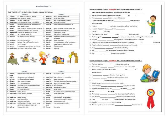 Phrasal Verbs Beginning with S: Worksheet / Revision