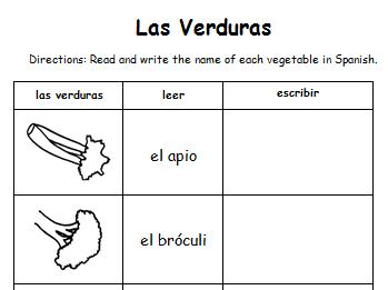Vegetables - Las Verduras