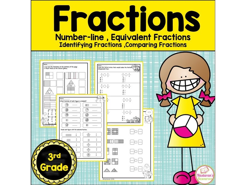 Fractions Worksheets-Equivalent Fractions,Fractions on the number line