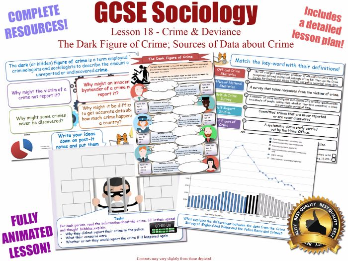 Crime Data, Dark Figure, Sources & Statistics- Crime & Deviance L18/20[ WJEC EDUQAS GCSE Sociology ]