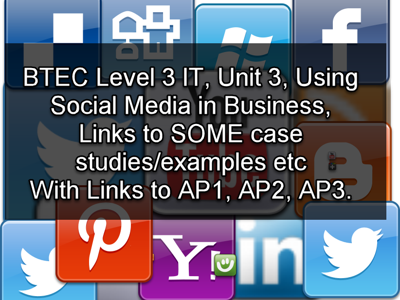 Level 3 IT, Unit 3 Using Social Media in Business Some case study links and Examples
