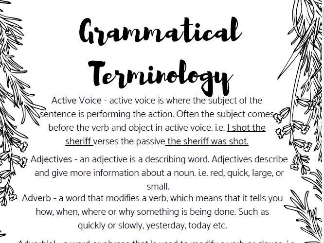 Grammatical Terminology - Glossary