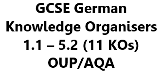 GCSE German Knowledge Organisers (KOs) - Set of 11 (1.1 to 5.2) to Complement OUP/AQA Course