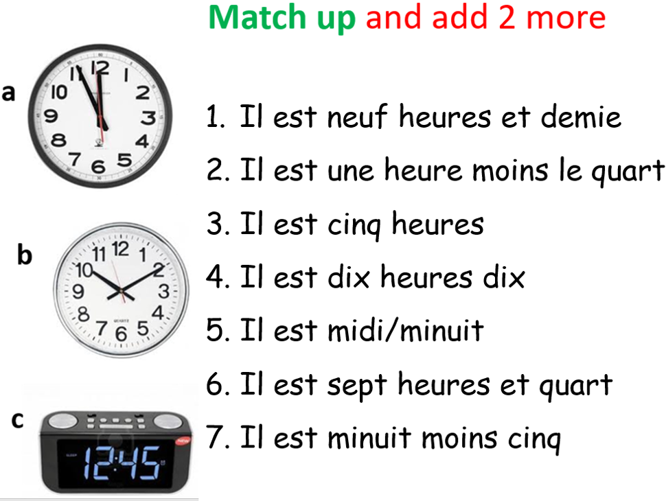KS3 French L'heure Tell the time Numbers
