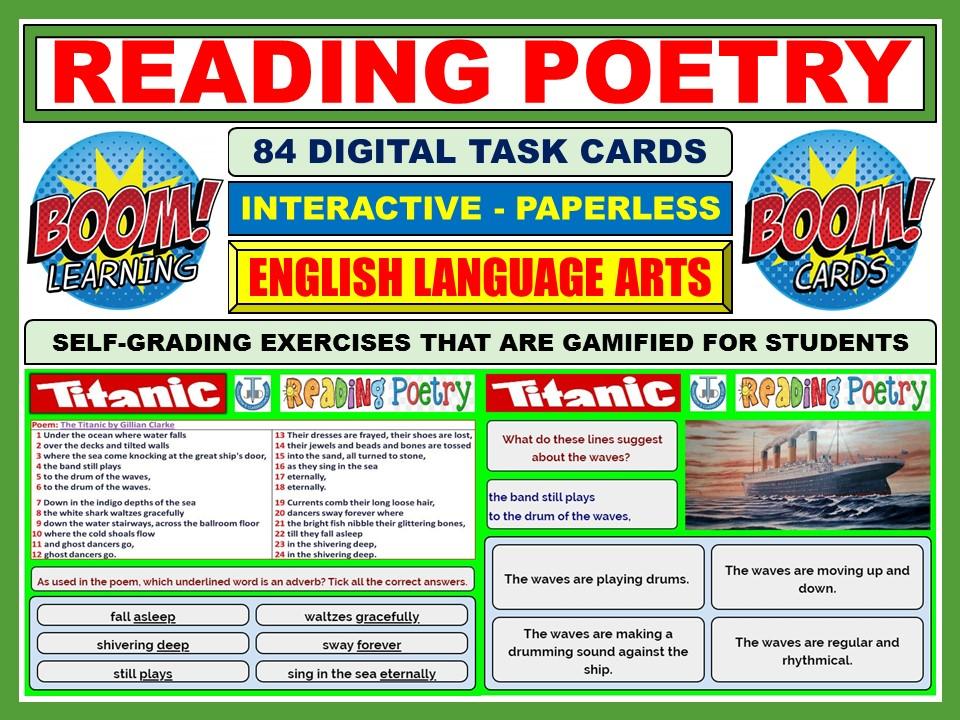READING POETRY: TITANIC - 84 BOOM CARDS