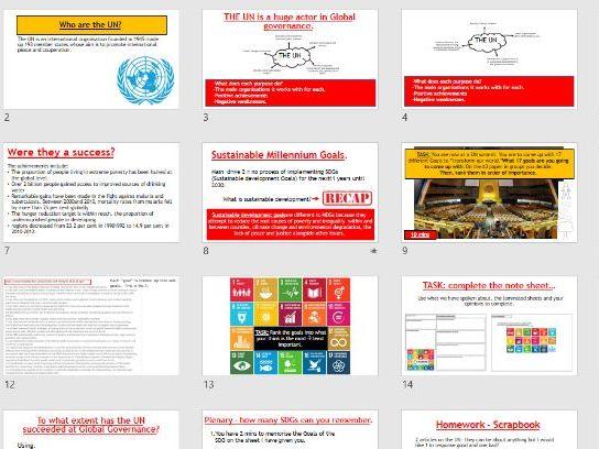 AQA Global Governance - L2 The UN (SDGs +MDGs)