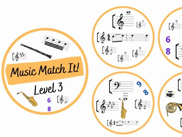 Music Match It Grade 3 Music Theory Dobble style Card Game