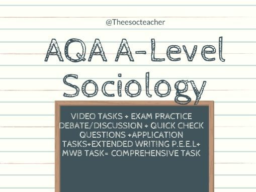 AQA A LEVEL SOCIOLOGY Pupil Class Identities revision sheet