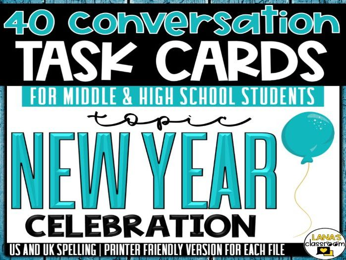 Conversation Starter Cards   New Year's   Social Skills for Middle&High