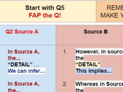 AQA Language Paper 2 Crib Sheet