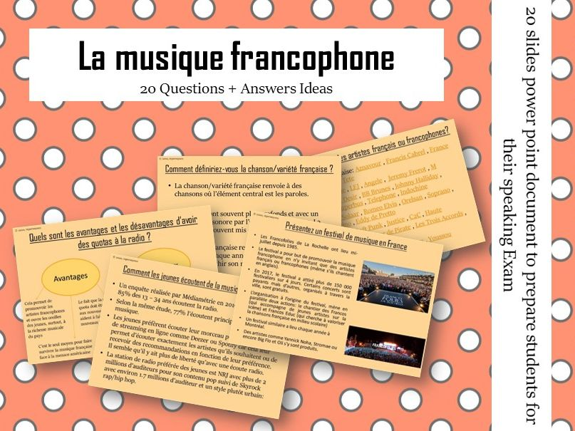 La musique francophone -  Questions/Answers for the speaking exam ( French AS Music)