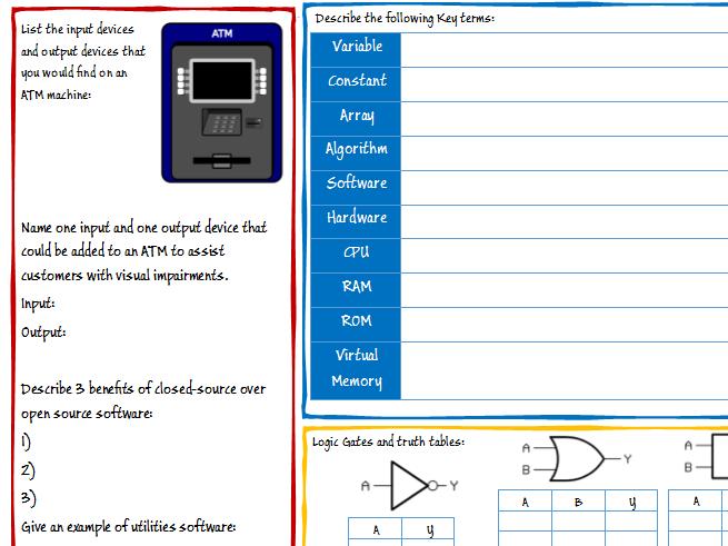 GCSE Computing / Computer Science Mixed Revision Topics Worksheet (A451)