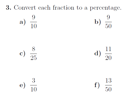 Converting between percentages, fractions and decimals worksheet no 2 (with solutions)