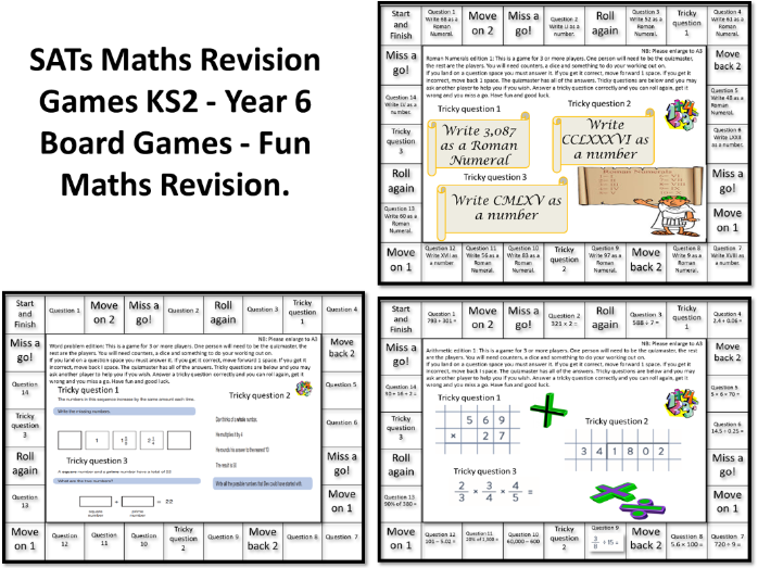 3 SATs Maths Revision Games KS2 - Year 6 Board Games - Fun Maths Revision. Answers Included.