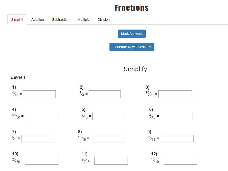 Fraction Interactive App and Worksheet Generator