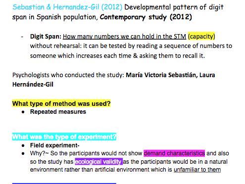 Edexcel A level Psychology Sebastian and Hernandez-gil (2012)