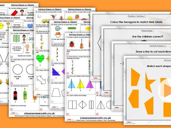 FREE Year 1 Halving Shapes or Objects Summer Block 1 Maths Lesson Pack