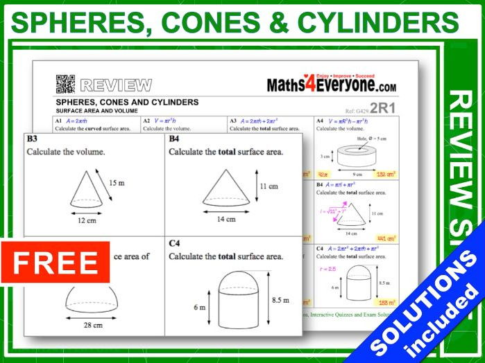 GCSE Revision (Spheres, Cones & Cylinders)