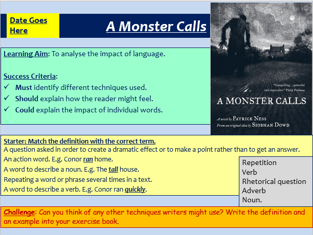 The Opening of A Monster Calls - Language Analysis