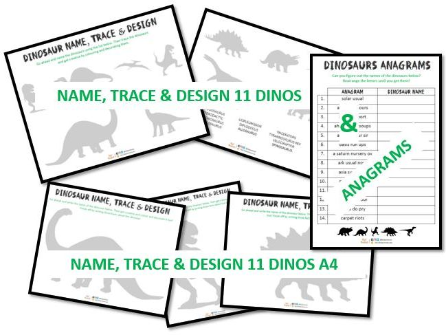 Dinosaur name, trace & design activity, w/ dinosaurs on A4 + anagrams