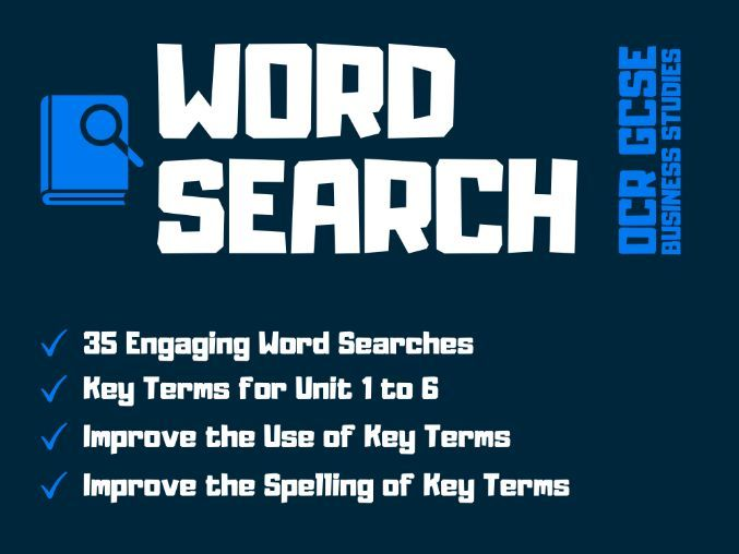 OCR GCSE Business Studies Key Terms Word Search for Unit 1 to 6