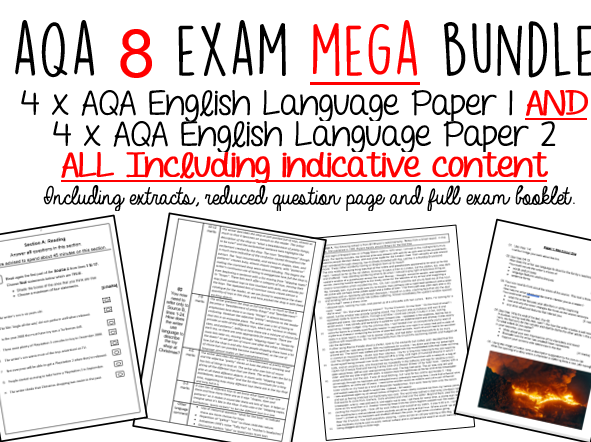 45% Discount: AQA GCSE English Language MEGA  BUNDLE (X8)-  Includes INDICATIVE CONTENT