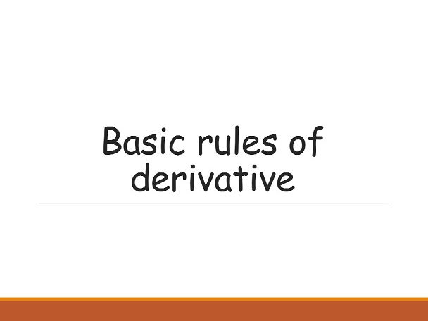 Basic rules for derivative
