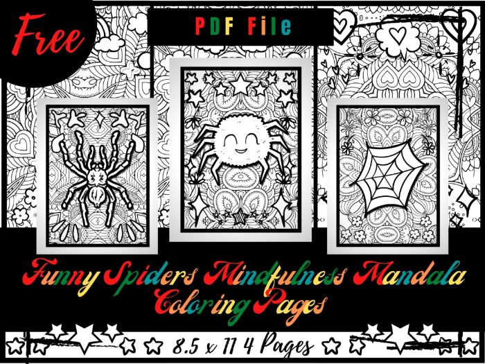 FREE Funny Spiders Mindfulness Mandala Coloring Pages, FREE Animals Coloring Printable Sheets PDF